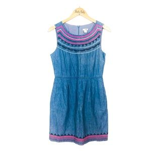 J. Crew Chambray Embroidered Boho Shift Dress 4